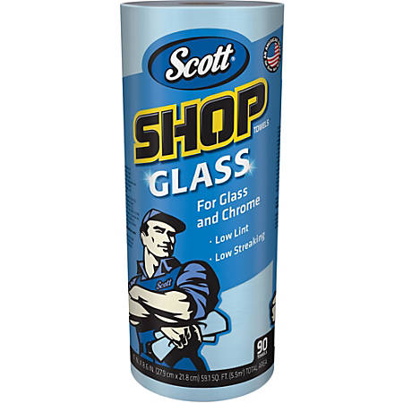 Scott Glass Cleaning Shop Towels - 90 Sheets/Roll - Blue - Low Linting, Absorbent, Perforated - For Glass Cleaning, Windshield, Window, Mirror - 1080 / Carton