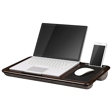 "LapGear Lap Desk With Mouse Pad, 12""H x 21.1""W x 2.6""D, Espresso"