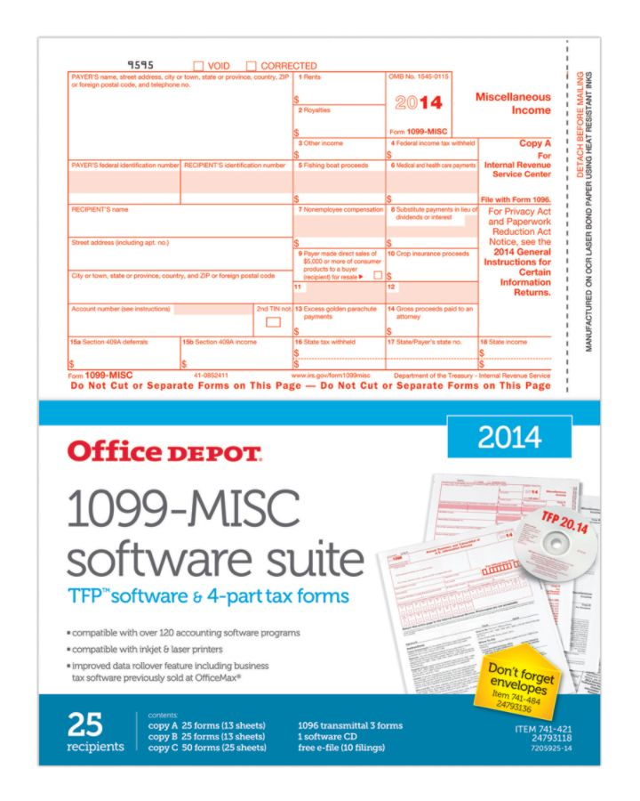 Office Depot Brand 4 Part 1099 Misc Laser Form And Software Sets