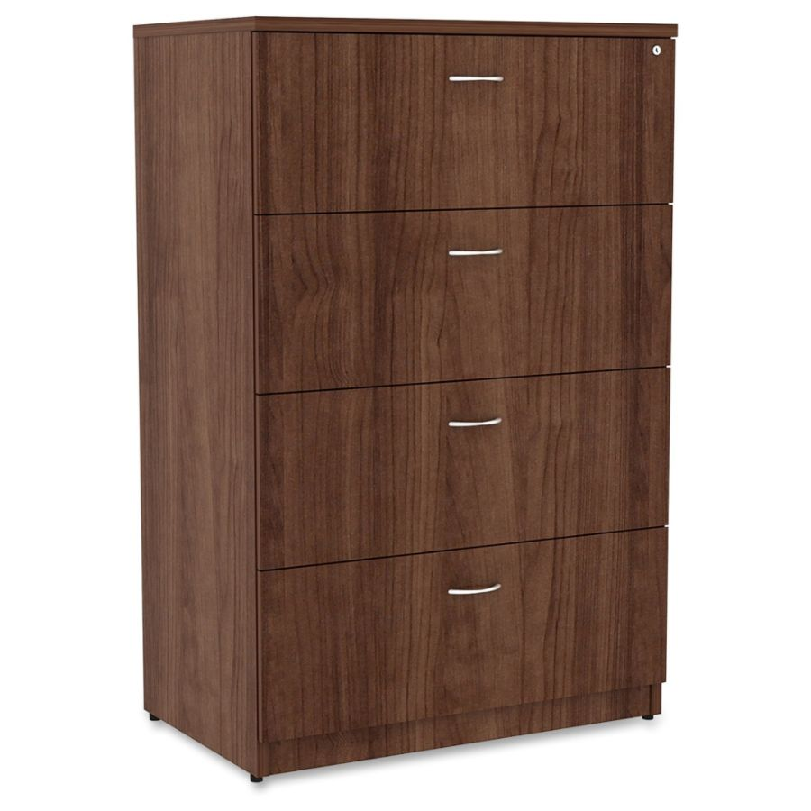Lorell Essentials Series 4 Drawer Lateral File Cabinet Walnut By Office  Depot U0026 OfficeMax