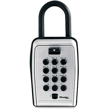 "Master Lock Portable Key Safe - Push Button Lock - Weather Resistant, Scratch Resistant - for Door - Overall Size 3.1"" - Black, Silver - Metal, Vinyl"
