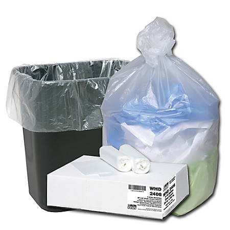 """Webster Ultra Plus 8-Mic High-Density Trash Can Liners, 7 - 10 Gallons, 24"""" x 24"""", Box Of 500 Liners"""