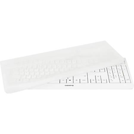 CHERRY EZClean KC1000 Covered Keyboard - Cable Connectivity - USB 2.0 Interface - 104 Key - English (US) - LPK Keyswitch - Light Gray