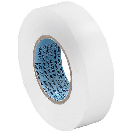 """Tape Logic® 6180 Electrical Tape, 1.25"""" Core, 0.75"""" x 60', White, Case Of 10"""