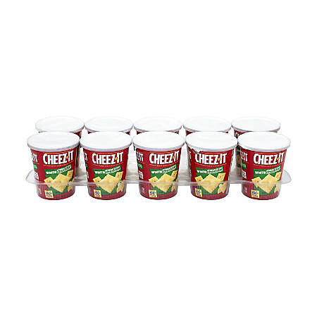 Cheez-It White Cheddar Baked Snack Cracker On-The-Cups, 2.2 Oz, Box Of 10 Cups