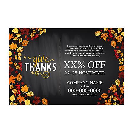 Adhesive Sign Template, Horizontal, Fall Leaf