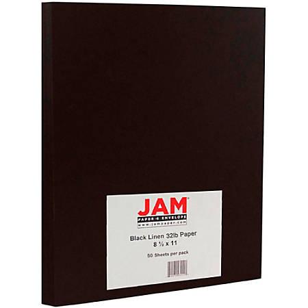 "JAM Paper® Printer Paper, Letter Size (8 1/2"" x 11""), 32 Lb, Black Linen, Ream Of 50 Sheets"