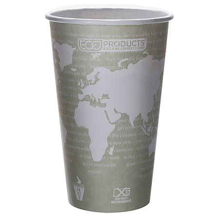 Eco-Products World Art Hot Beverage Cups, 16 Oz, Green, Case of 1,000