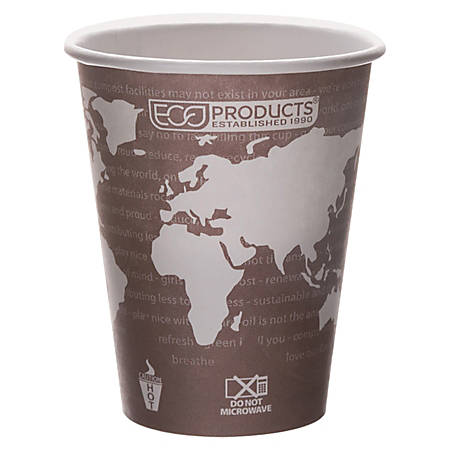 Eco-Products World Art Hot Beverage Cups, 8 Oz, Maroon, Carton Of 1000