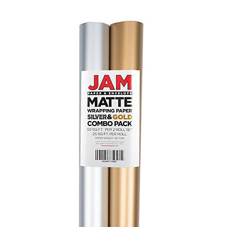 "JAM Paper® 25 Sq. Ft. Wrapping Paper, 120"" x 2-1/2', Matte Gold/Silver"