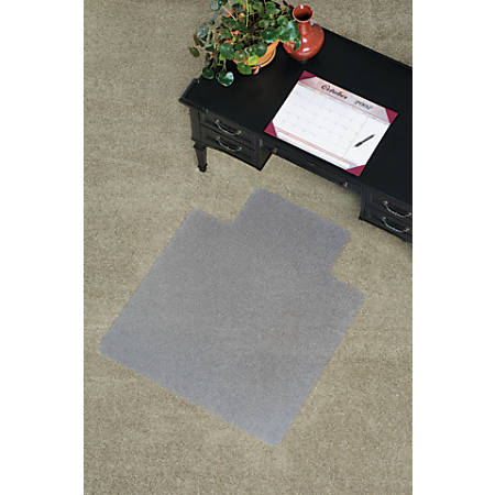 "ES Robbins Everlife Chairmat with Lip - Carpeted Floor - 48"" Length x 36"" Width x 0.75"" Thickness - Lip Size 10"" Length x 20"" Width - Vinyl - Clear"