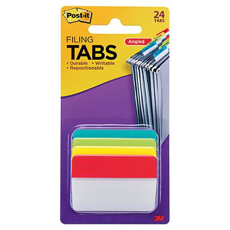 "Post-it® Notes Durable Angled Hanging File Folder Tabs, 2"", Assorted Colors, Pack Of 24 Tabs"