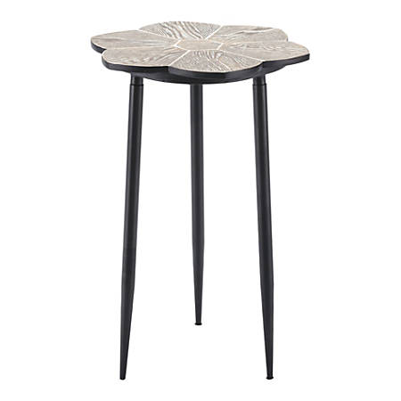 Zuo Modern Daisy End Table, Round, Distressed Natural/Black