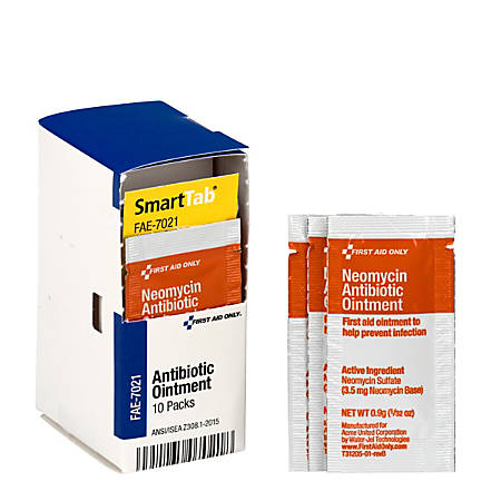 First Aid Only® SmartCompliance Antibiotic Ointment Packets, 0.9 Oz, Box Of 10