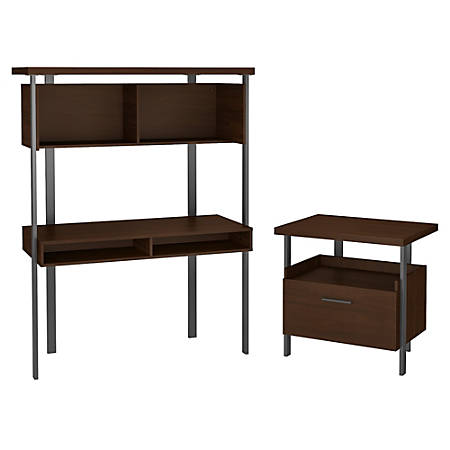 Bush Furniture Architect Small Computer Desk With Hutch And Lateral File  Cabinet, Modern Walnut, Standard Delivery Item # 7423355