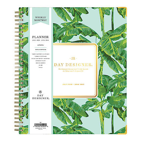 """Blue Sky™ Day Designer Academic Weekly/Monthly Planner, 8"""" x 10"""", Tropics, July 2020 To June 2021, 118334"""