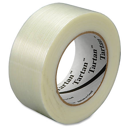 """Scotch 8934 Filament Tape - 1.88"""" Width x 60 yd Length - 3"""" Core - Synthetic Rubber - Glass Yarn Backing - 24 / Carton - Clear"""