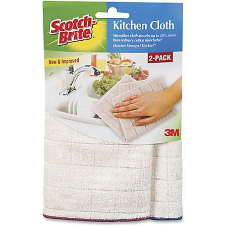 """Scotch-Brite -Brite Microfiber Kitchen Cloth - Cloth - 11.50"""" Width x 12.50"""" Length - 24 / Carton - White"""