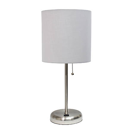 """LimeLights Stick Lamp With USB Port, 19-1/2""""H, Gray Shade/Brushed Steel Base"""