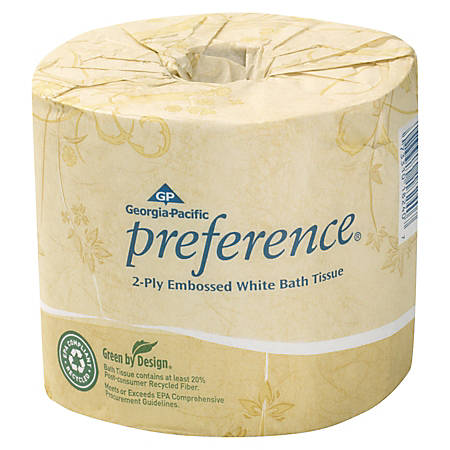 Georgia-Pacific 2-Ply Bathroom Tissue, 95% Recycled, White, 550 Sheets Per Roll, Carton Of 80 Rolls