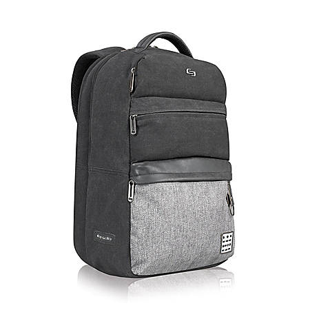 """Solo Momentum Backpack With 15.6"""" Laptop Pocket, Zip Top Closure, Black/Gray"""