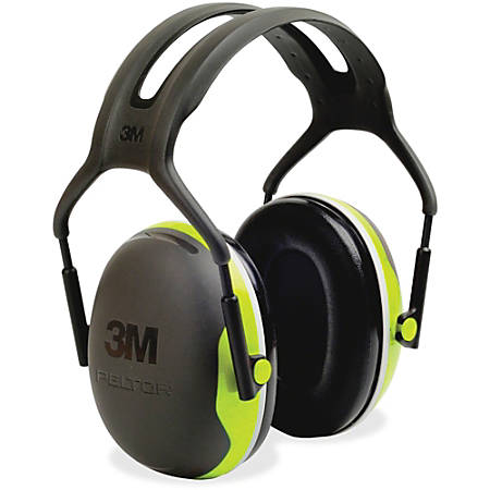 Peltor X4A Earmuff - Lightweight, Comfortable, Cushioned, Adjustable Headband, Durable - Noise, Noise Reduction Rating Protection - Foam Liner, Steel - Black, Green - 1 / Each