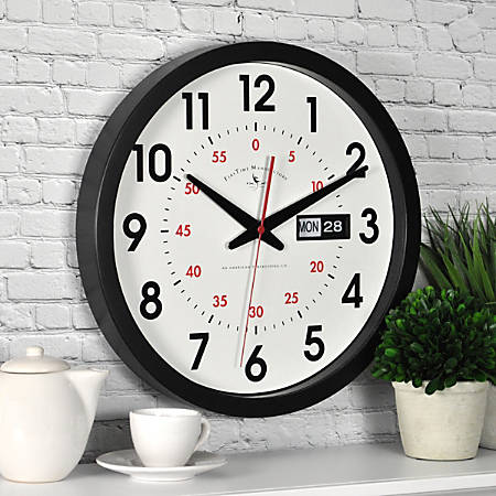 "FirsTime® Harris Day/Date Round Wall Clock, 14"", Black/White"
