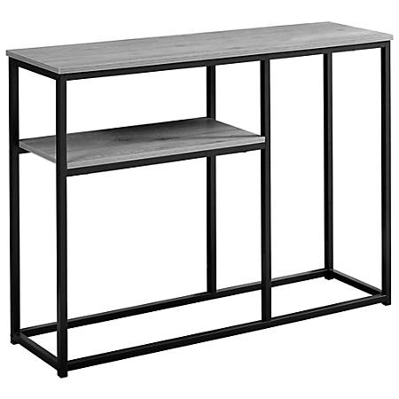 Monarch Specialties Accent Table With Shelf, Rectangular, Dark Taupe/Black