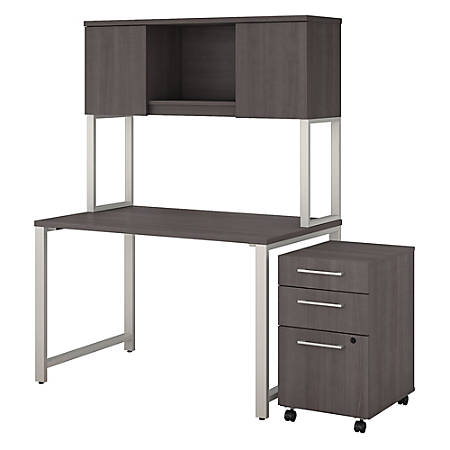 "Bush Business Furniture 400 Series Table Desk With Hutch And 3 Drawer Mobile File Cabinet, 48""W x 30""D, Storm Gray, Premium Installation"