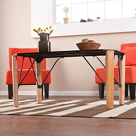 Southern Enterprises Elements Cocktail Table, Oblong, Chrome/Gray