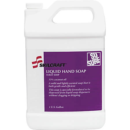SKILCRAFT Bathroom Dispenser Liquid Hand Soap - Cashmere Scent - 1 gal (3.8 L) - Hand - Clear - Non-clog, Drip-free, Bio-based - 6 / Carton