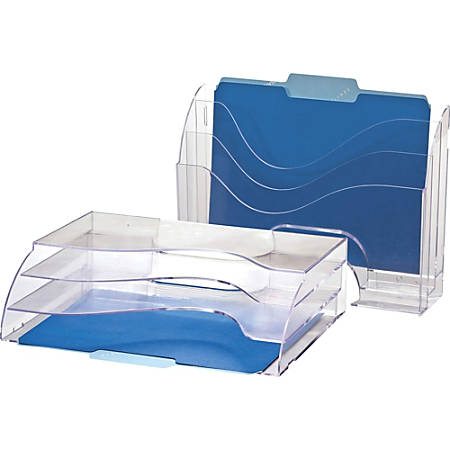 "OIC Clear Wave 2-way Desktop Organizer - 3 Compartment(s) - 3 Tier(s) - 11.3"" Height x 13"" Width x 3.6"" Depth - Desktop, Wall Mountable - Clear - Plastic - 1Each"