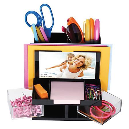 "OIC VersaPlus Plastic 9-Compartment Desk Organizer, 5 1/2""H x 6 1/4""W x 6 5/16""D, Black/Clear"