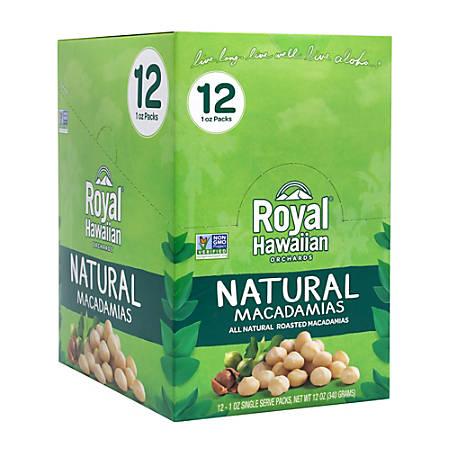 Royal Hawaiian Natural Macadamias, 1 Oz, Box Of 12 Packs