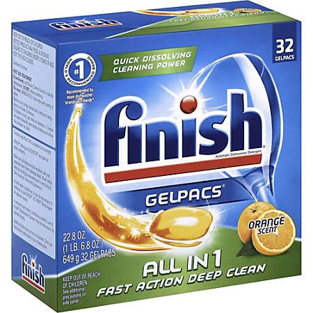 Finish Dishwasher Gel Packs - Gel - 1.30 fl oz - Orange Scent - 32 / Box - 256 / Carton - Orange