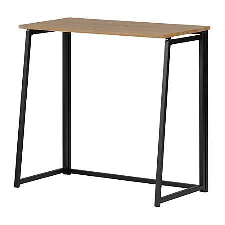 "South Shore Evane 32""W Industrial Folding Computer Desk, Natural White Oak"