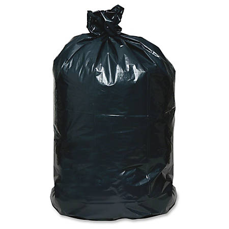 """Webster Reclaim Heavy-Duty Recyled Can Liners - Extra Large Size - 56 gal - 43"""" Width x 48"""" Length - 1.25 mil (32 Micron) Thickness - Black - Plastic - 100/Carton - Can"""