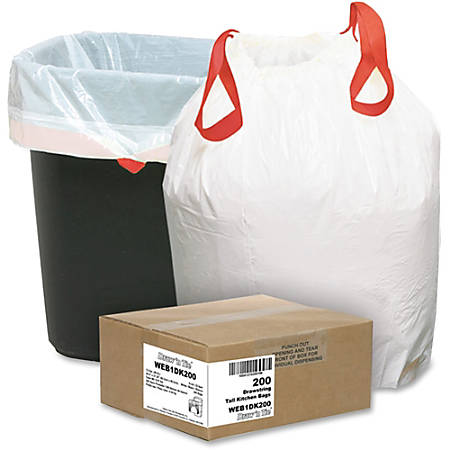 """Webster Drawstring Trash Bags, 13 Gallons, 24 1/2"""" x 27 3/8"""", White, Box Of 200"""
