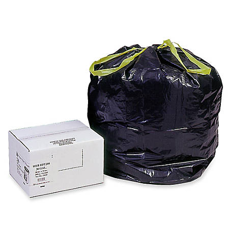 Webster® Drawstring Trash Can Liners, 30 Gallons, Black, Box Of 200