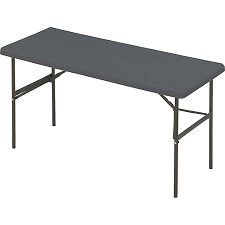 "Iceberg IndestrucTable TOO™ 1200-Series Folding Table, 60""W x 24""D, Charcoal Gray"