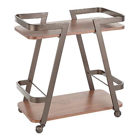 "LumiSource Seven Industrial Cart, 29-3/4""H x 16""W x 28""D, Antique Metal/Walnut"