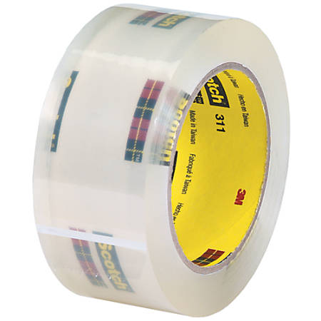 "Scotch® 311 Carton Sealing Tape, 3"" Core, 2"" x 110 Yd., Clear, Pack Of 6"