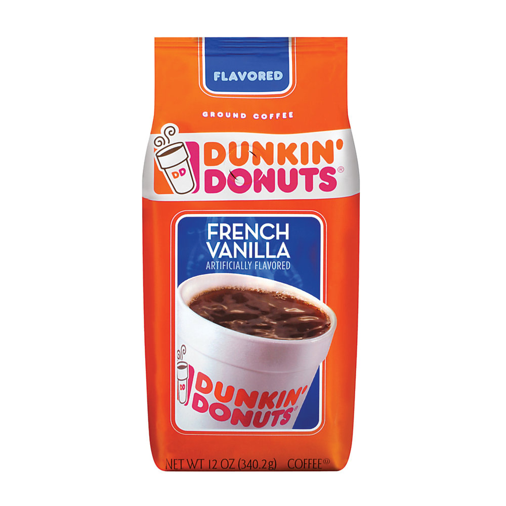 Enjoy creamy french vanilla flavor anytime, anywhere  The same coffee you know and love - now with a vanilla twist!  Treat yourself and your guests to relaxing breaks with Dunkin' Donuts flavor.  Resealable bag helps to ensure fresh coffee with each use.  Made from 100% Arabica beans.  Makes up to forty 6-oz cups of coffee.