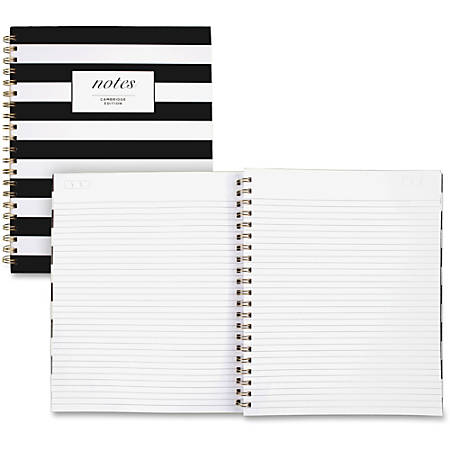 "Cambridge Hardcover Wirebound Notebook - 160 Pages - Twin Wirebound - Both Side Ruling Surface - Ruled - 11"" x 8 7/8"" - Black & White Cover Stripe - 1Each"