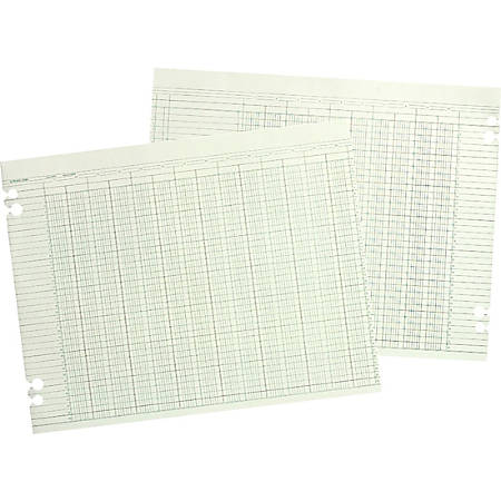 "Wilson Jones® Columnar Ruled Sheets, 9 1/4"" x 11 7/8"", 30 Lines, 8 Columns, 100/Pack - 24 lb - Ledger - 11 7/8"" x 9 1/4"" Sheet Size - 4 x Holes - Green Sheet(s) - Brown, Green Print Color - Paper - 100 / Pack"