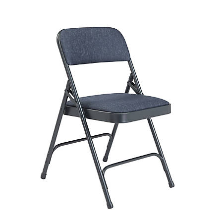 National Public Seating 2200 2-Hinge Folding Chairs, Blue/Char-Blue, Set Of 4 Chairs