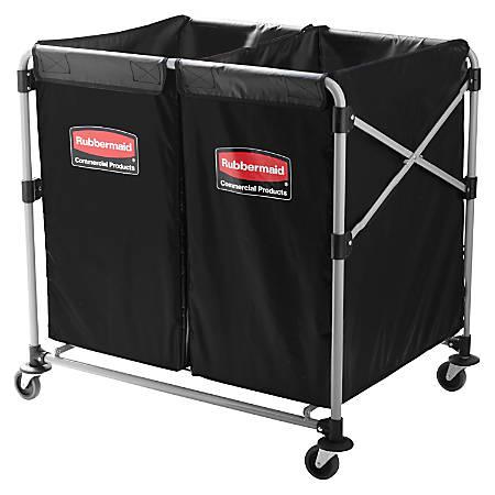 """Rubbermaid® Collapsible X-Cart, 4 Bushel, 34 5/8""""H x 24 1/8""""W x 35 3/4""""D, Black"""
