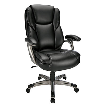 Realspace® Cressfield Leather High-Back Chair, Black