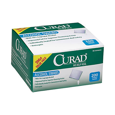 "CURAD® Sterile Alcohol Prep Pads, 1"" x 1"", White, Box Of 200 Pads"