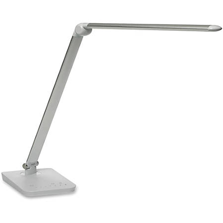 "Safco Vamp LED Flexible Light - 16.8"" Height - 5"" Width - LED Bulb - Dimmable, Flexible, USB Charging - 550 Lumens - ABS Plastic, Aluminum - Desk Mountable - Silver"